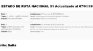 Estado de Ruta #RN51 Distrito Salta