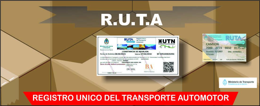 R.U.T.A Registro Único de Transporte Automotor
